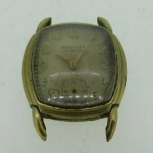 Vintage-Hampden-Swiss-17J-YXY-10k-Gold-Filled-Watch-Case-Movement-and-Dial-Parts
