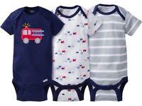 Gerber Baby Boy Onesies Bodysuits Variety 3-pack Baby Shower Gift - Blue -
