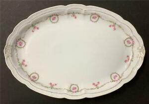 Shabby Pink Ribbons & Roses Platter Large deep 15x10x1.5 Green Tan ZS&Co Bavaria