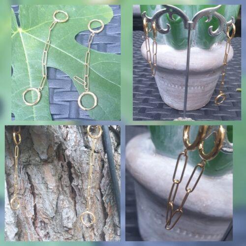 Boucles d/'Oreilles Créoles Chaine Maille Large Longue Ou Traversante Plaqué Or
