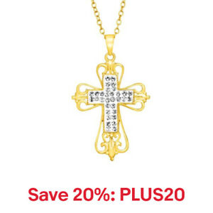 Crystaluxe Open Swirl Cross Pendant w/ Swarovski 18K Gold over Sterling Silver