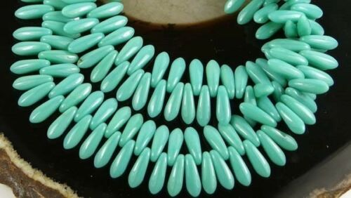 Opaque TURQUOISE 50 Czech Glass Dagger Beads 10x3mm