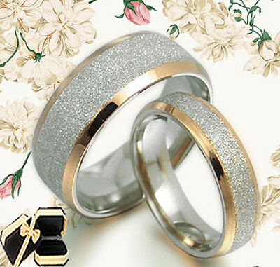 Gold Wedding Engagement Bands Titanium Rings Set 008EE