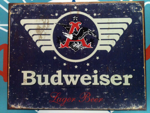 OUTSTANDING graphics retro TIN SIGN classic BUDWEISER BUD DISTRESSED LABEL