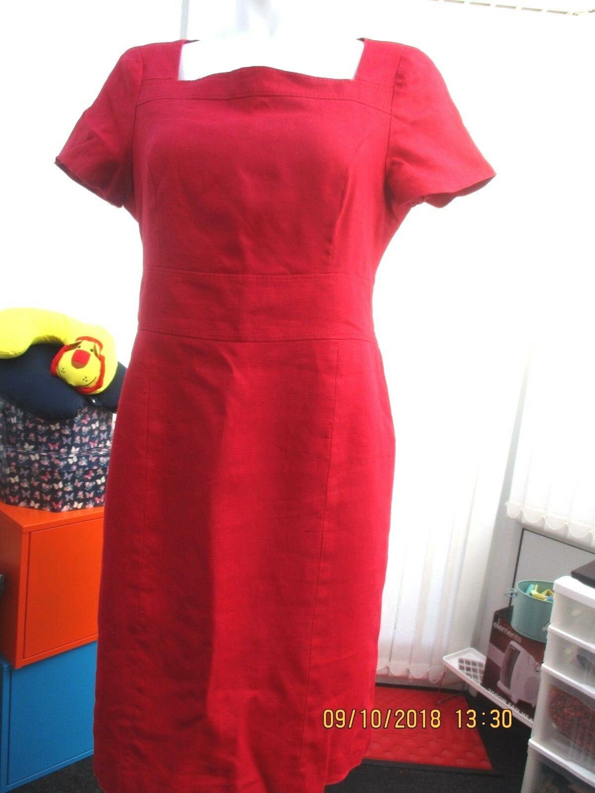 """""""debenhams"""" ladies red linen fitted dress size 14"""