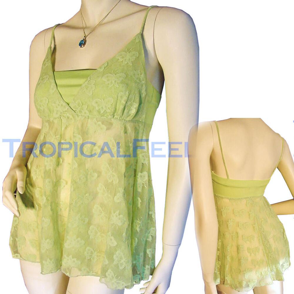NEW Womens Spaghetti Sheer Mesh Lace Top Green Butterfly Butterflies Summer Tops