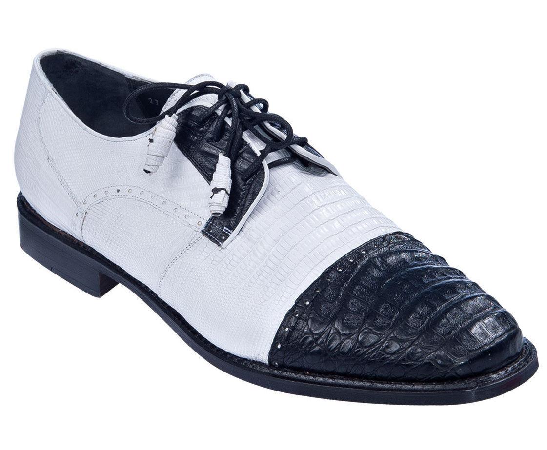 Zapatos de vestir los Altos Negro blancoo Caimán Cocodrilo Genuinos Con Lagarto Oxford D