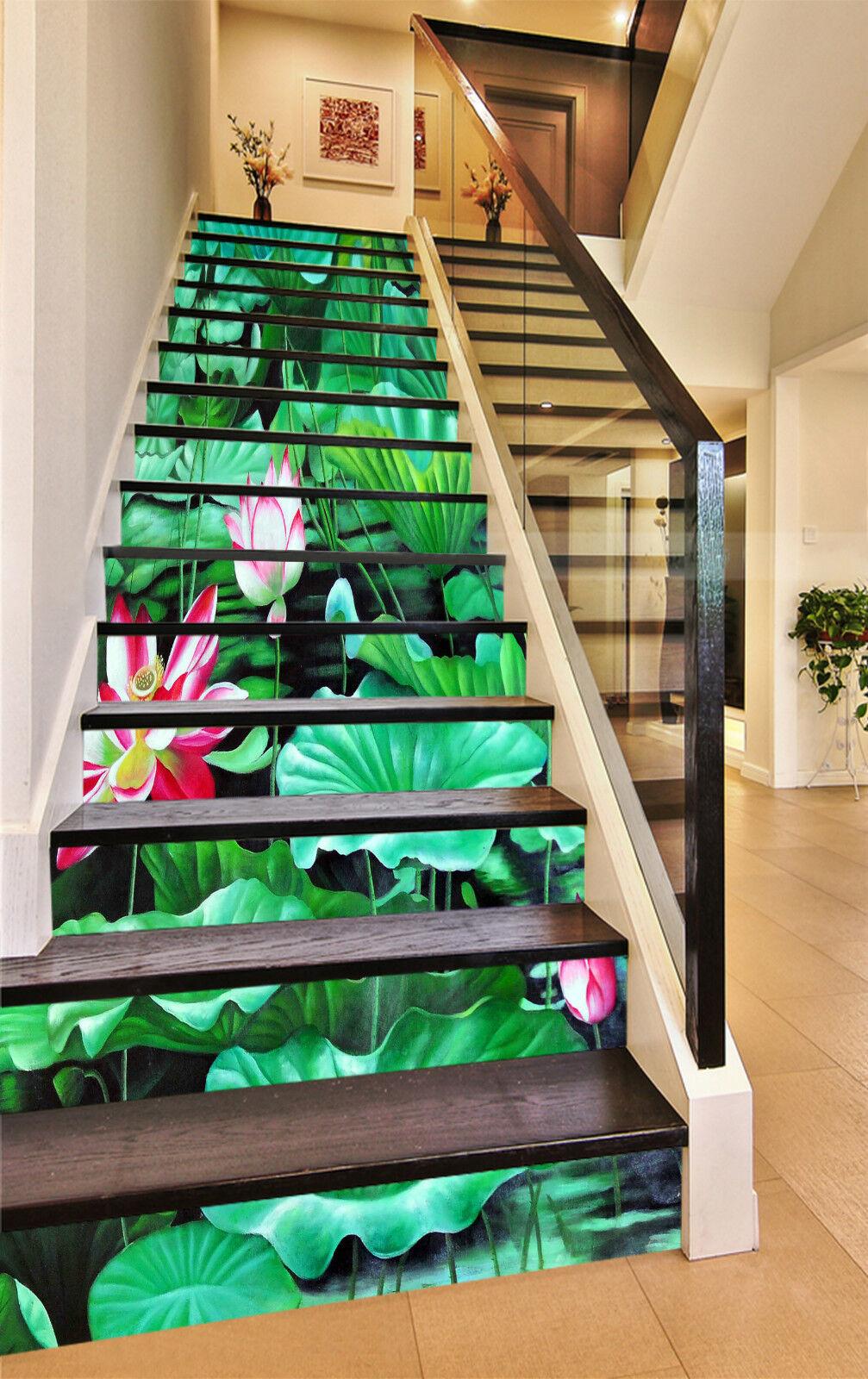 3D Lotus Lotusblatt Stair Risers Dekoration Fototapete Vinyl Aufkleber Tapete DE