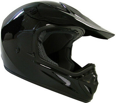 Adult Solid Gloss Black Dirt Bike ATV Motocross MX Helmet Off-Road~S M L XL XXL
