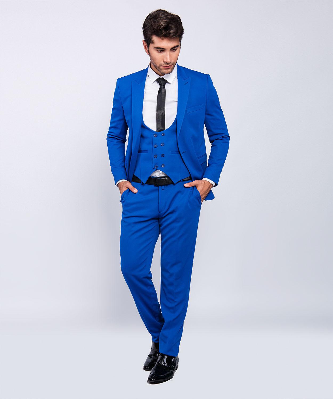 Slim Fit Herrenanzug in Blau mit Weste -Hochzeit-Bühne-Anzug-Sakko
