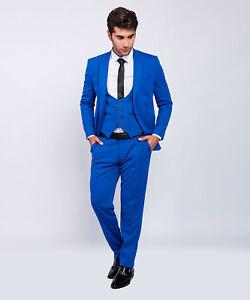 Slim Fit Herrenanzug In Blau Mit Weste Hochzeit Buhne Anzug Sakko