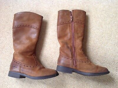 Clarks Day Hi Gtx Jnr Brown Leather Boys Boots Size UK 10 1//2F-2F