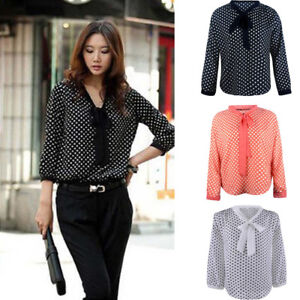 Fashion-Women-Long-Sleeve-Chiffon-Bowknot-Shirt-Casual-V-Neck-Dots-Blouse-Top
