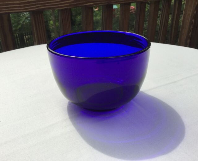 Cobalt Blue Crystal Finger Bowl-Studio Art Glass-Pontil-Hand Blown.        *2874