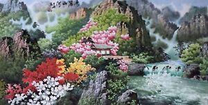 ORIENTAL-ASIAN-FINE-ART-CHINESE-SANSUI-WATERCOLOR-PAINTING-Landscape-scenery