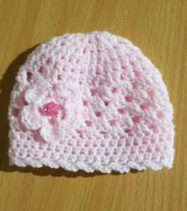 Baby White and Pink Crochet Hat with a lovely Flower 0//3