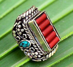Turquoise Red Coral Nepal Tibetan Silver Ring Healing Jewelry Bohemian Saddle
