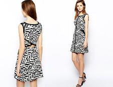 Karen Millen NWT Cotton Zebra Print Shift Dress w/ Cutout Back S US 8 UK 12 $250