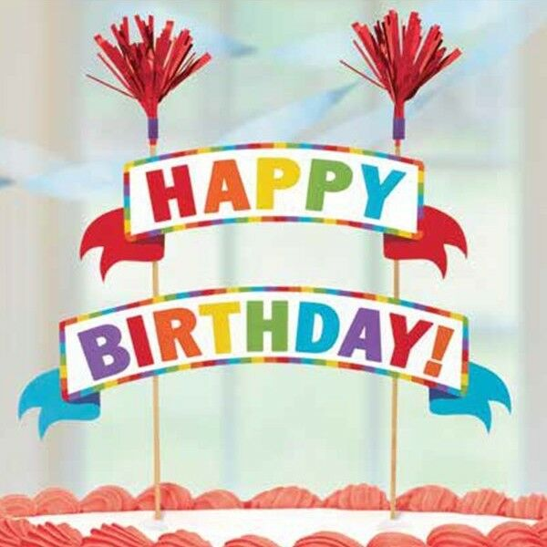 Rainbow Happy Birthday Cake Bunting Topper Party Decoration