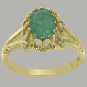 Solid-18ct-Yellow-Gold-Natural-Emerald-Womens-Solitaire-Ring-Sizes-J-to-Z