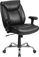 HERCULES SERIES 400 LB. CAPACITY BIG & TALL BLACK LEATHER TASK CHAIR WITH HEIGHT
