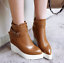 thumbnail 11 - Women Pointed Toe Wedge Heels Ankle Boots Punk Leather Vintage Party Chic Shoes