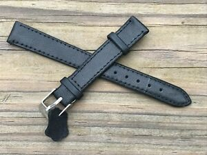 Watch-Replacement-Band-Black-Genuine-Leather-Band-Only-Strap-Size-14mm