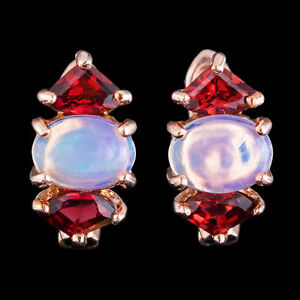 100-NATURAL-WELO-8X6MM-OPAL-amp-RHODOLITE-GARNET-ROSE-GOLD-SILVER-925-EARRING