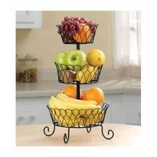3 Tier Fruit Basket Bowl Holder Stand Kitchen Storage Organizer Wire Black  Home
