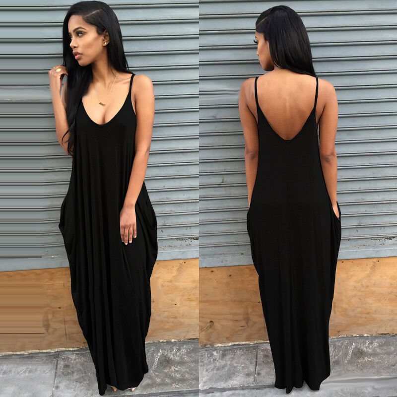 Women Ladies Maxi Dress Long Strappy Backless Loose Summer Beach Baggy Sundress 6