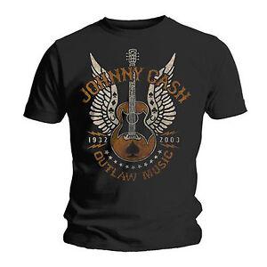 OFFICIEL-HOMME-NOIR-UNISEXE-Johnny-Cash-Outlaw-The-Man-Noir-Musique-T-shirt