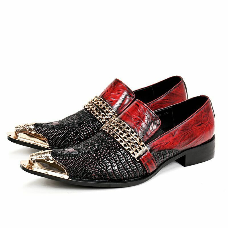 Cuir Hommes   Slip On Mocassin Metal Affaires Bout Pointu Mariage Formel Chaussures