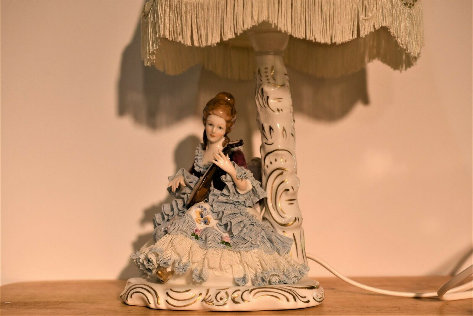"""Vintage Original Germany Dresden Victorian Lamp 5.5"""" Porcelain"""