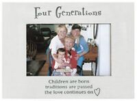 Four Generations Silver Finish Family Photo Frame For 4 X 6 Photo, By Ganz