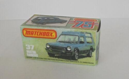 REPRO BOX MATCHBOX SUPERFAST n 37 MATRA RANCHO