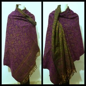 NEW-WOMENS-100-Wool-LARGE-Shawl-WRAP-PURPLE-FLOWER-PAISLEY-SCARF-BLANKET-PLAID