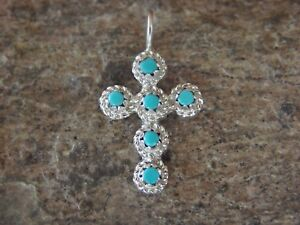 Zuni-Indian-Jewelry-Sterling-Silver-Turquoise-Cross-Pendant-Naktewa