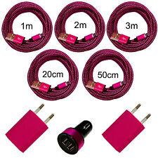 2x USB Ladegerät + KFZ Adapter + 20cm 50cm 1m 2m 3m Ladekabel Handy Tablet pink