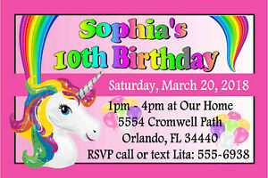 Rainbow Unicorn Birthday Party Invitations Design Ebay