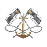 Id 5084 Nautical Anchor Blue Checker Crest Embroidered Iron On Applique Patch
