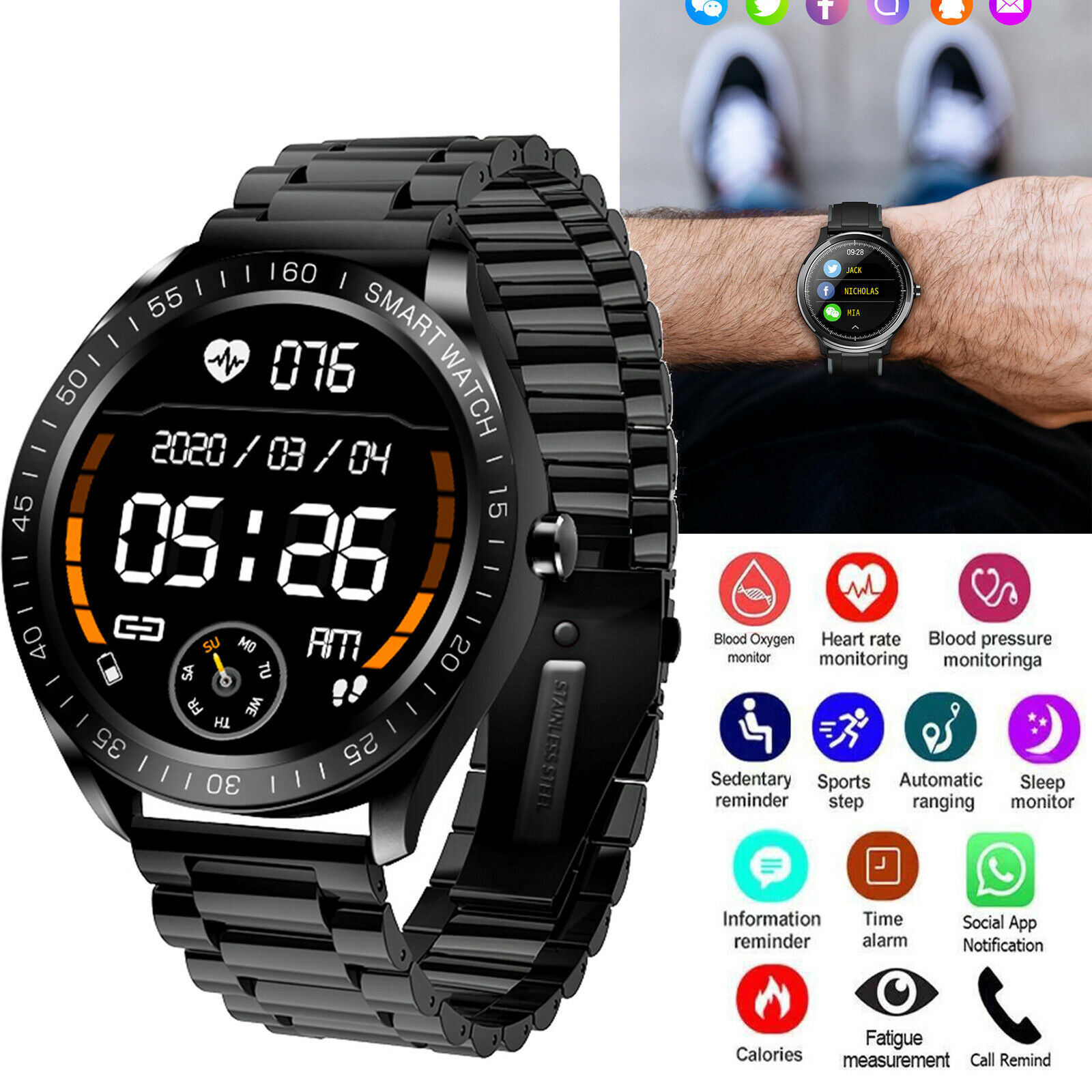 Men Boys Gifts Bluetooth Smart Watch Business Sports Bracelet Heart Rate Tracker bluetooth boys bracelet business gifts heart men smart sports watch