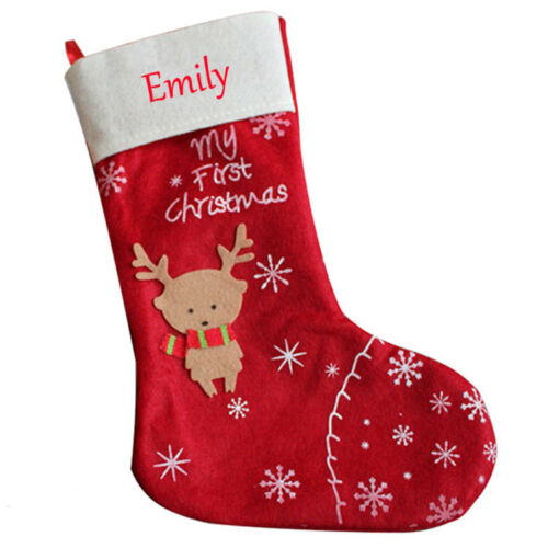 Personalised Christmas Red Stocking Deer Socks Luxury Sack Xmas Any Name
