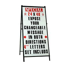A Frame Sidewalk Letters Sign Sandwich Board With Protective Covers Amp 4 Letters