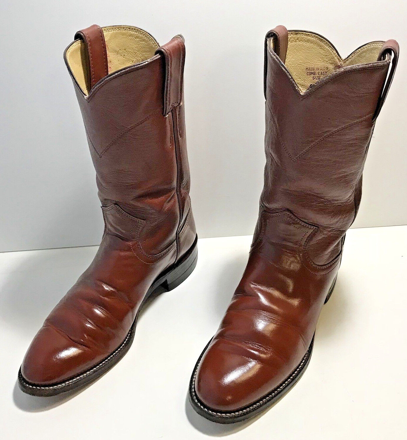 JUSTIN Leather Cowboy Cowgirl Boots Womens  Reddish Brown Size 5 1 2 B