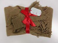 Cejon Scarf Set Gloves Hat Beige Gold Metallic Msrp $48