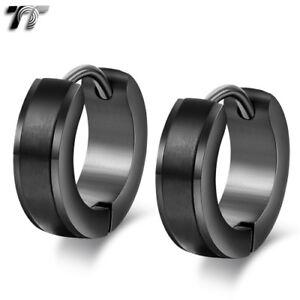 Quality-TT-Black-Matt-Stripe-Stainless-Steel-Hoop-Earrings-EH109D-NEW