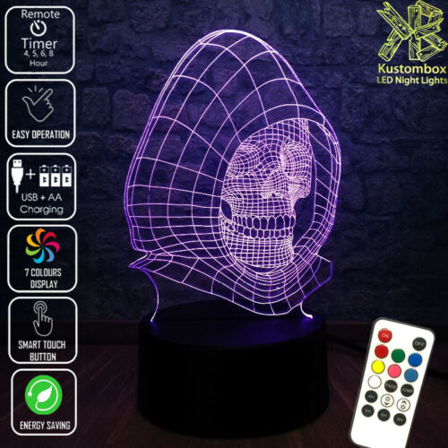 SKULL WIRE HOODED DAY OF DEAD  3D LED BATTERY USB NIGHT LIGHT 7 COLOURS REMOTE
