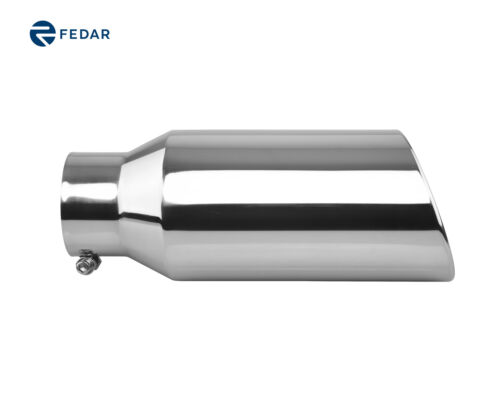 """Exhaust Muffler Tailpipe Tip 4/"""" Inlet 6/"""" Outlet 15/"""" Long Rolled End Angle Cut"""