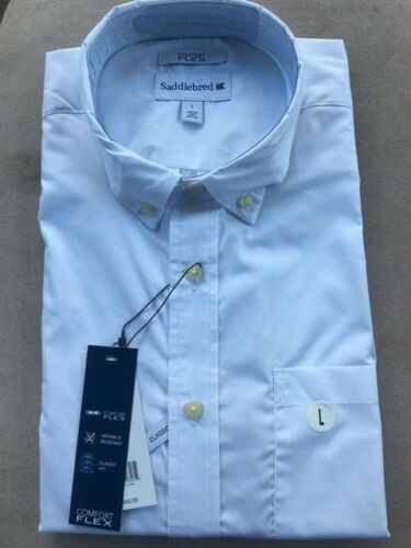 NWT Saddlebred Men Wrinkle-Free Short Sleeve Stretch Classic Fit Shirt Sz M//L//XL