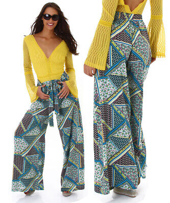 Pantaloni larghi palazzo donna ampi fantasia multicolor